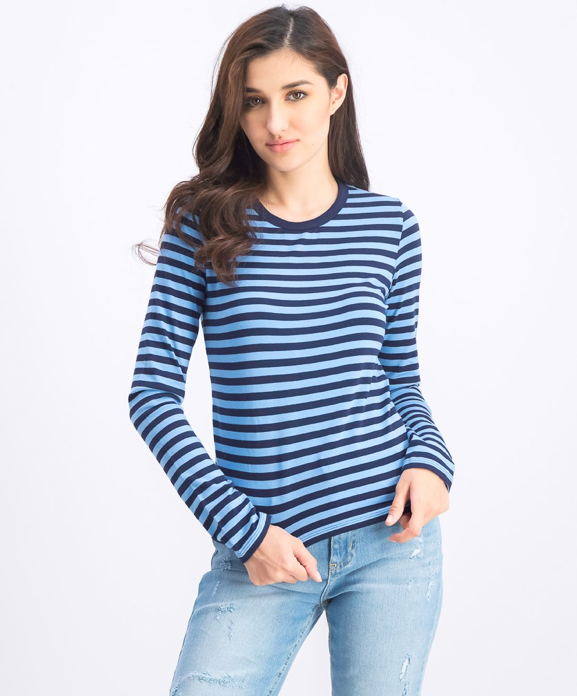 Women's Stripe Long Sleeve Tops, Blue/Navy Blue
