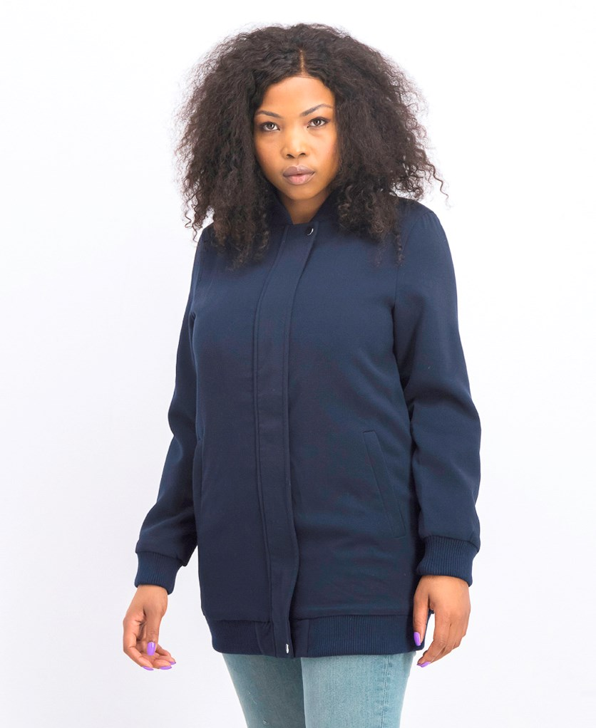Women's Plain Long Sleeve Coat, Navy