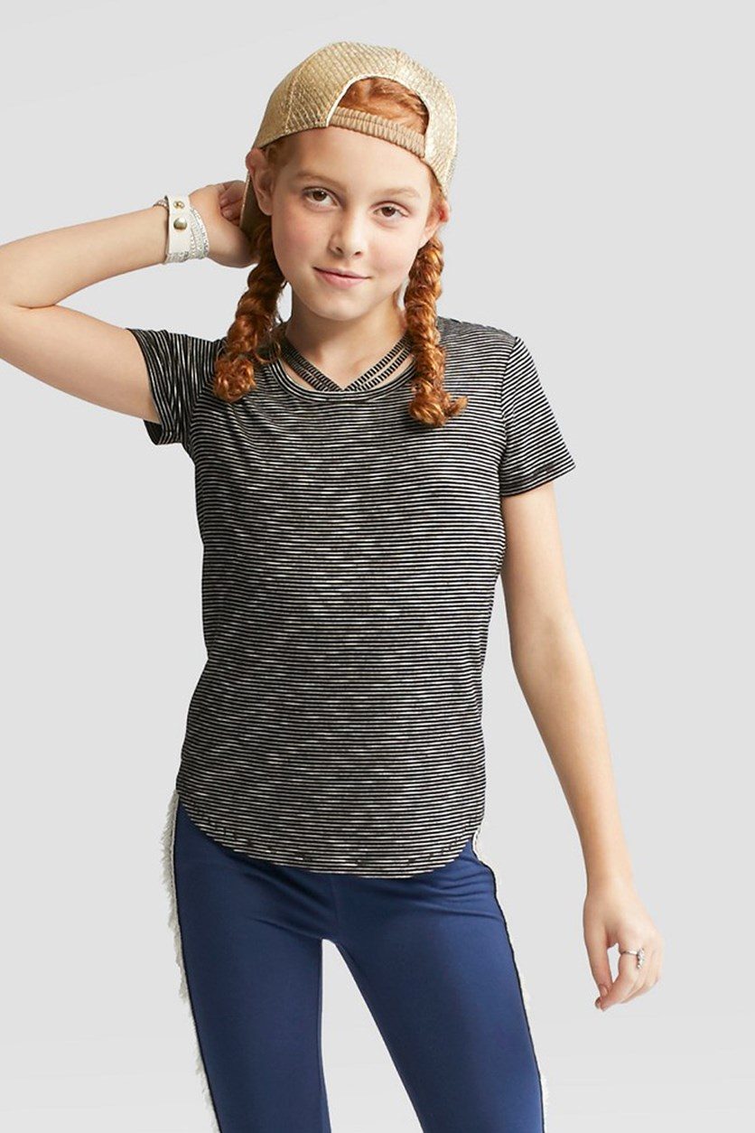 Girls' Short Sleeve Bar Front T-shirt, Black Stripes
