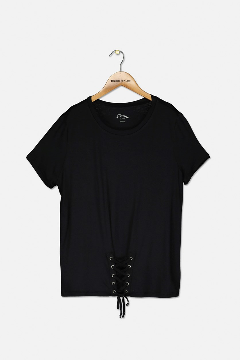 Girls Short Sleeve Top, Black