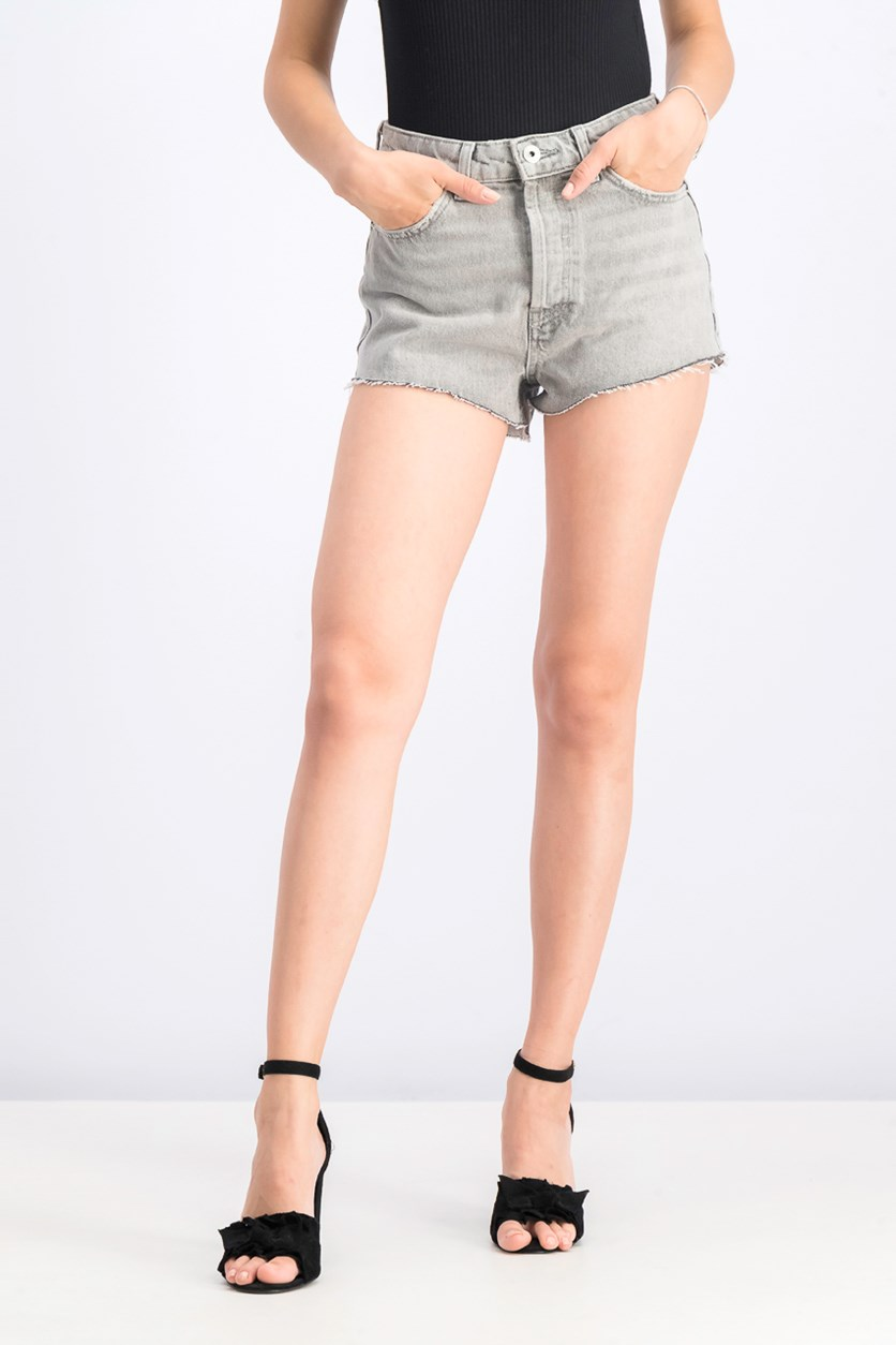 Women's Mom Fit Vintage Denim Shorts, Grey Washed
