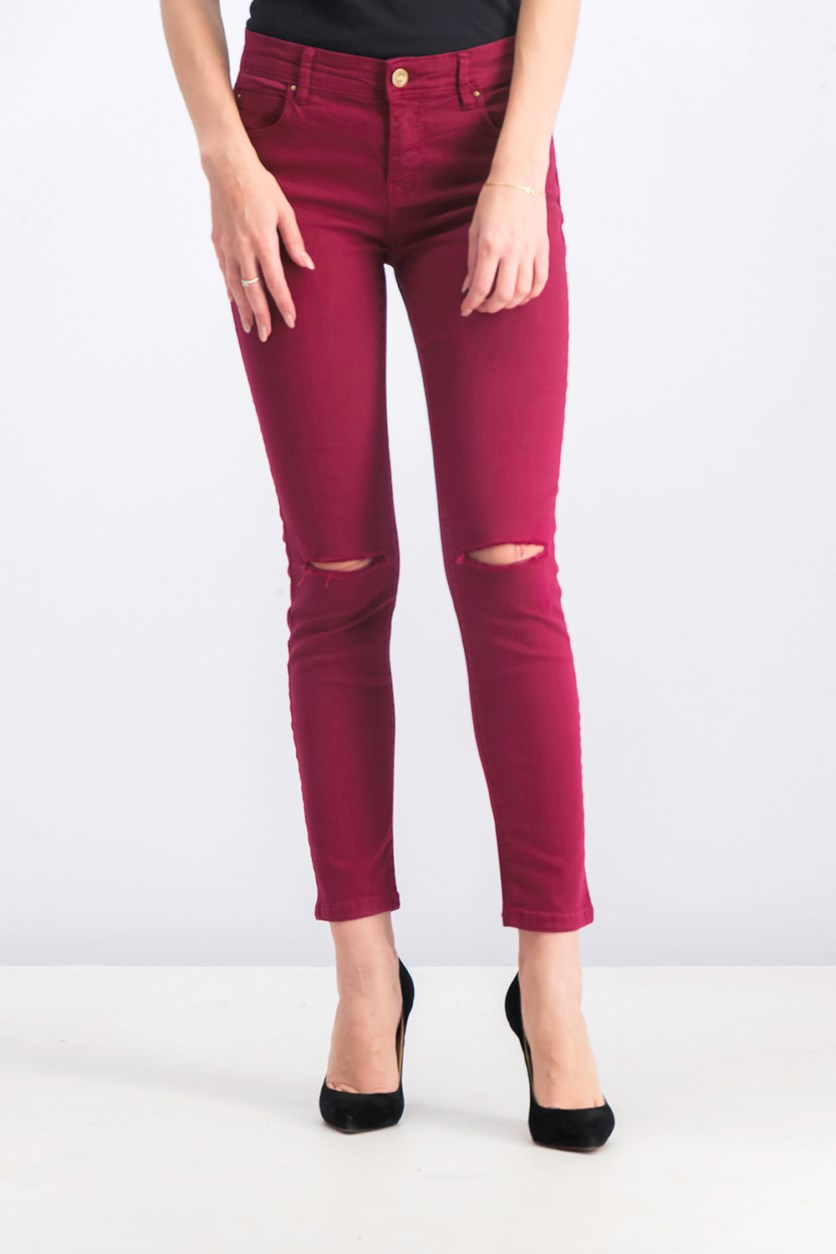 Women's Cropped Slim Fit Jeans, Maroon