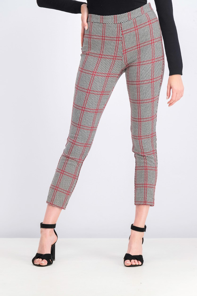 Women's Printed Slim Pants, Black/Red Combo