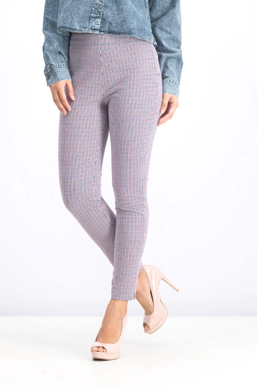 Women's Gingham Pants, Blue/Red Combo