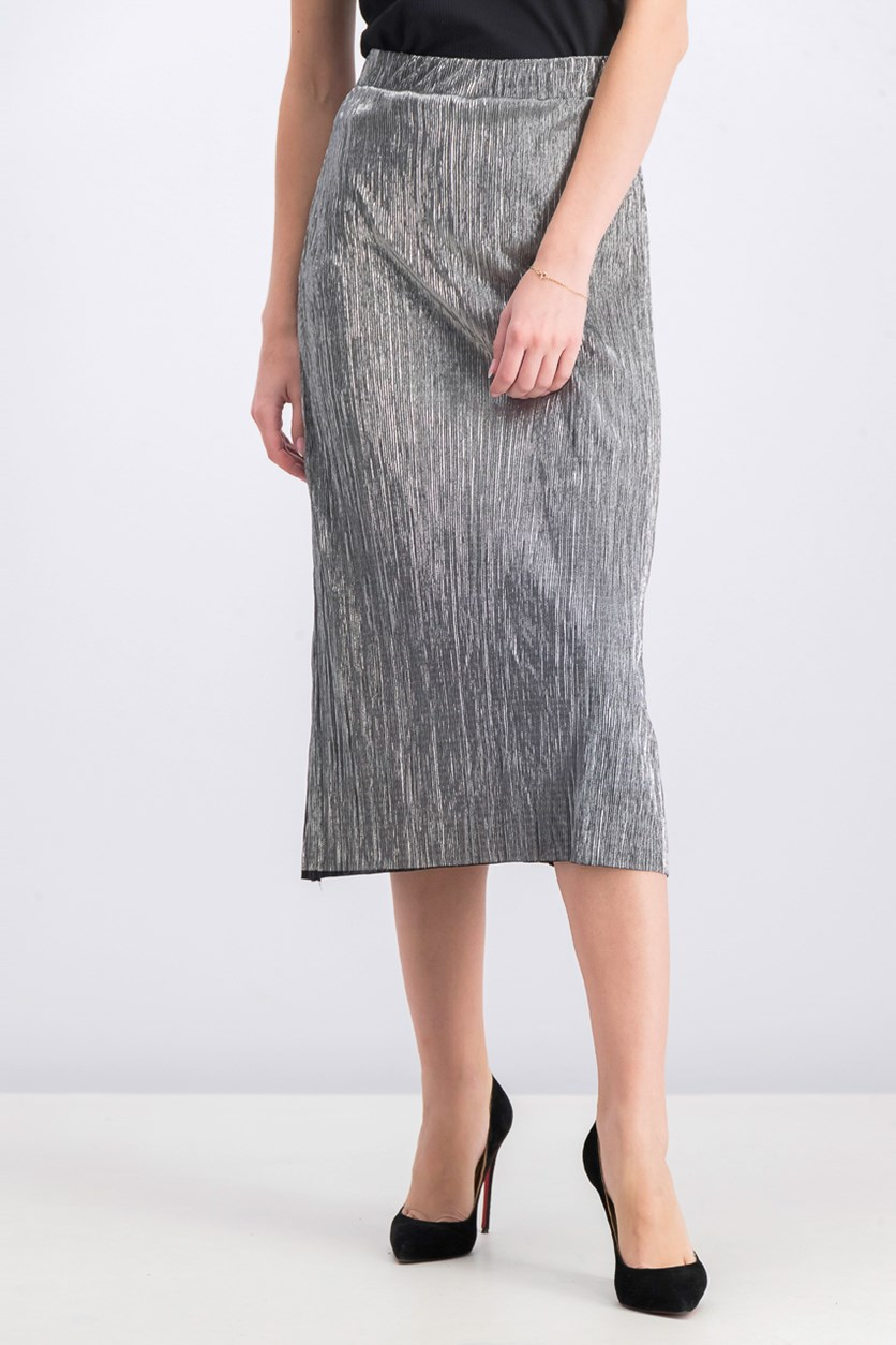 Women's Elasticized Midi Skirt, Silver