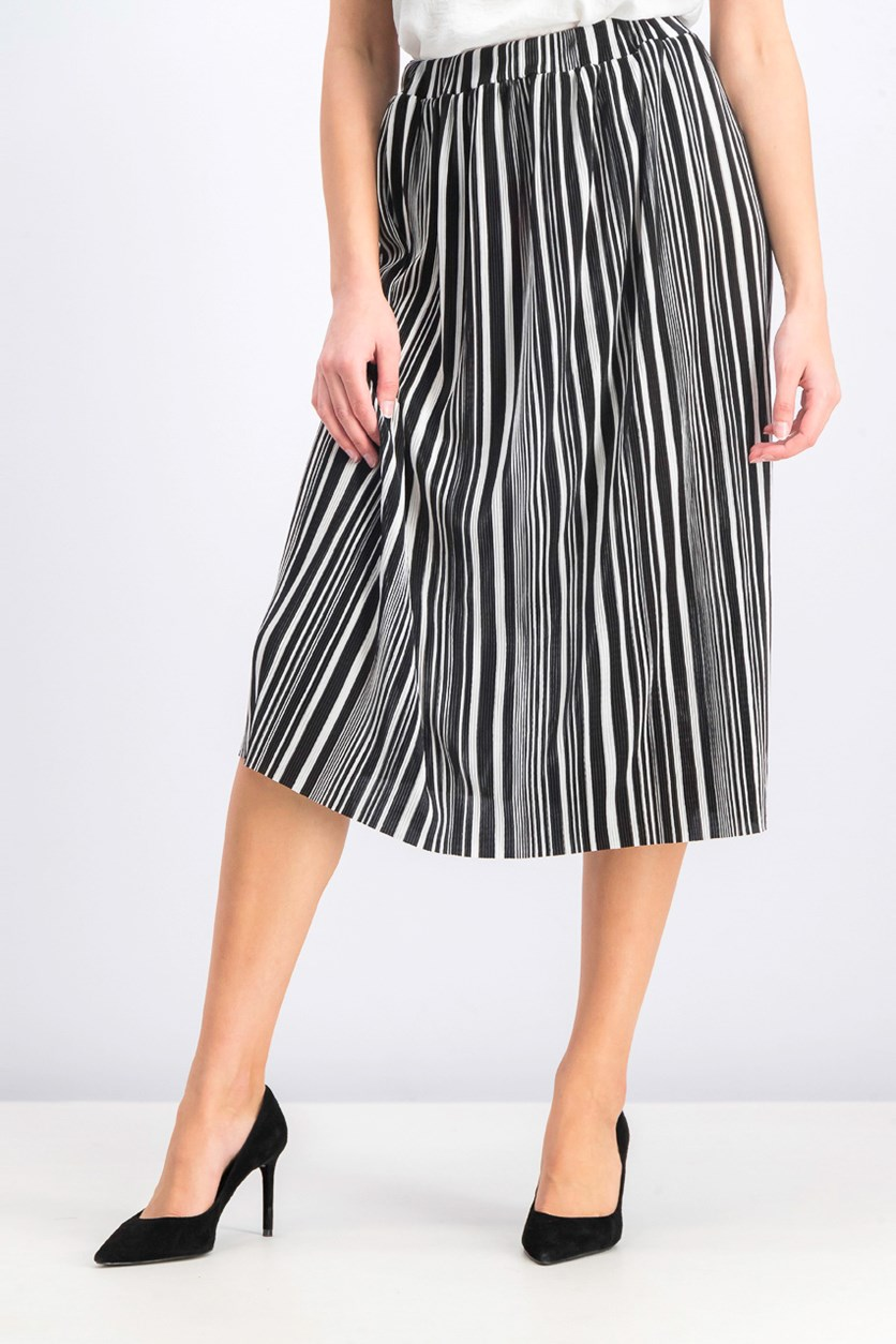 Women's Pleated Stripe Skirt, Black/White