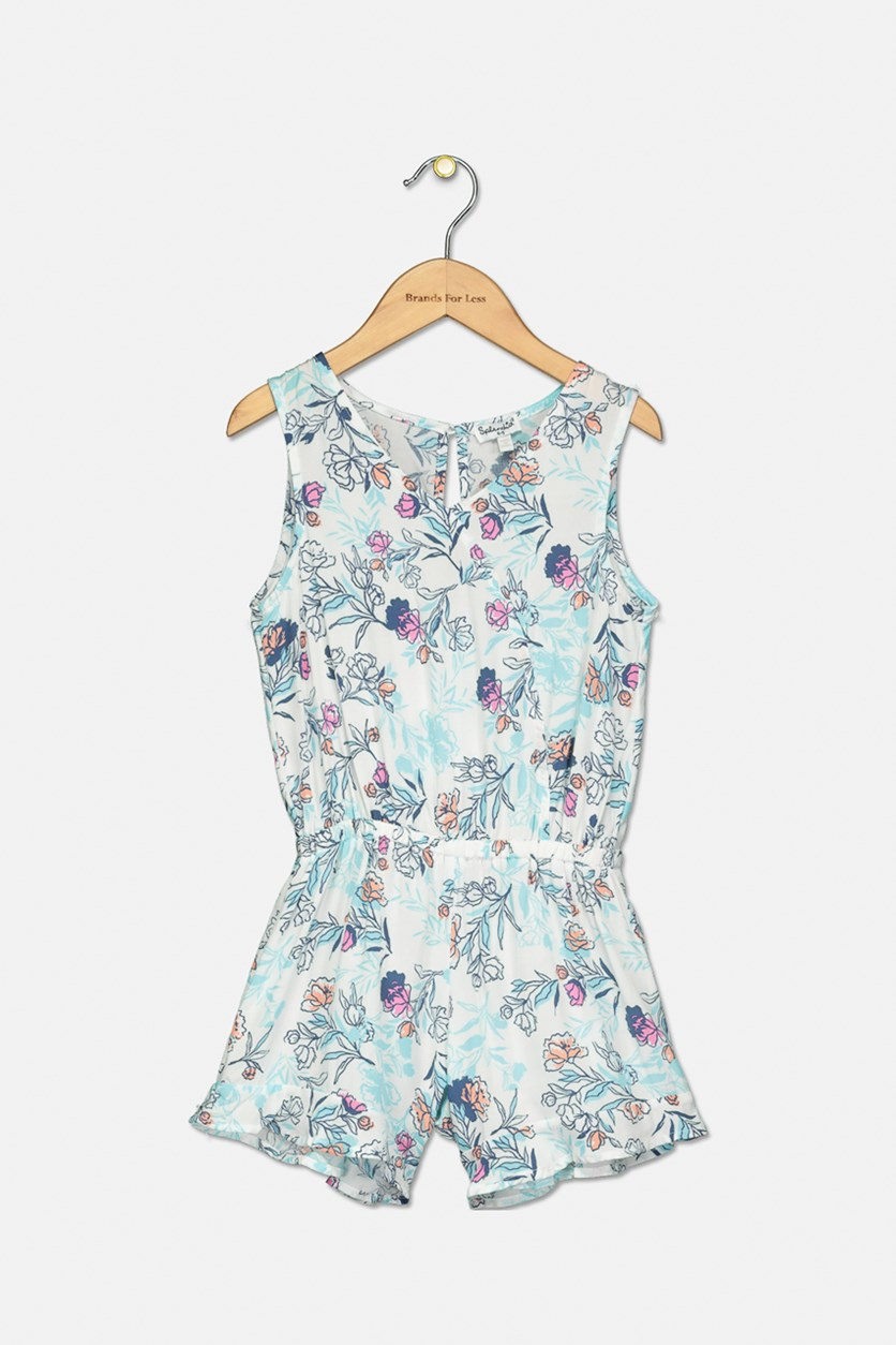 Little Floral Print Voile Romper, Off-White