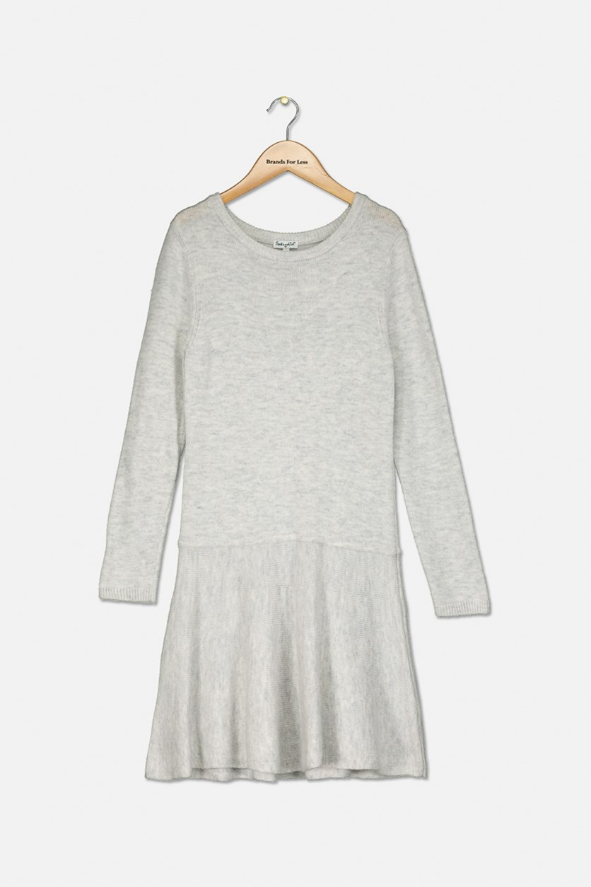 Girls' Drop-Waist Sweater Dress, Ice Grey Heather