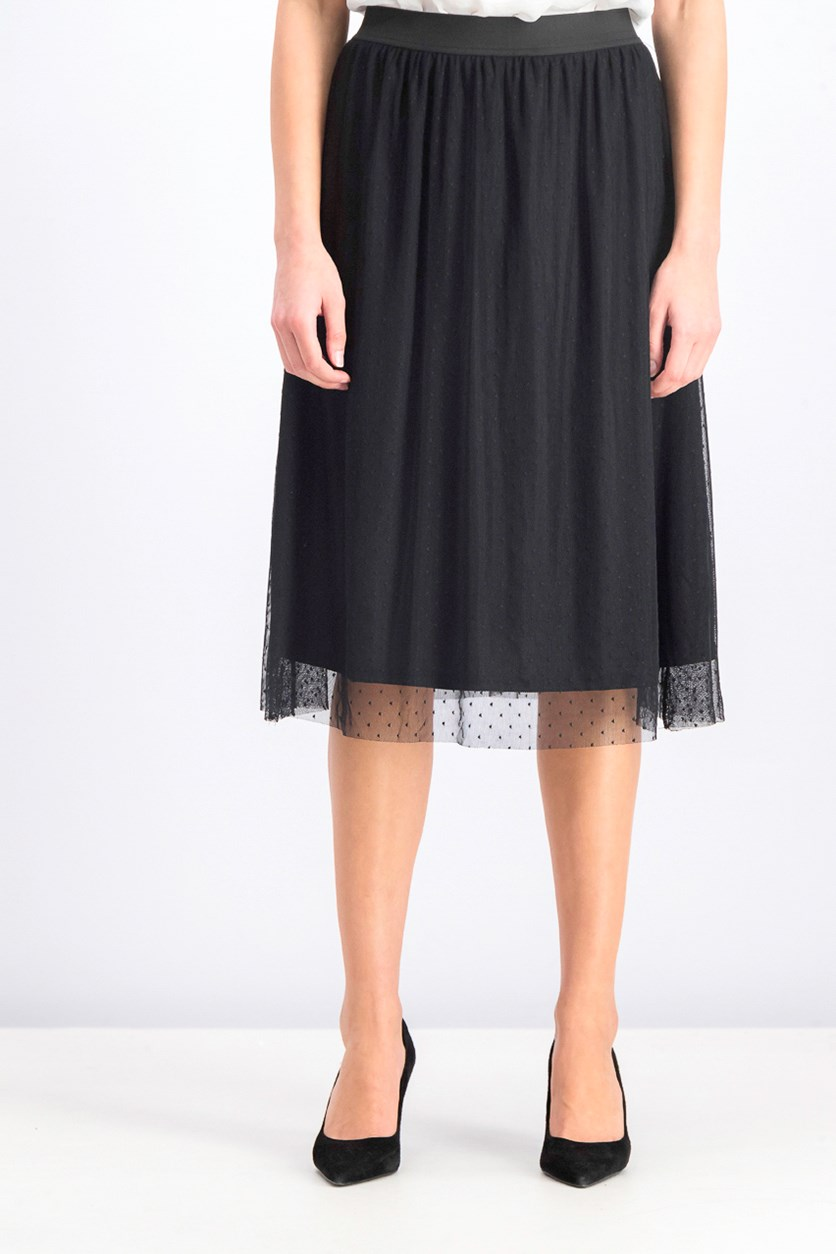 Women's Dotted Lace Skirt, Black