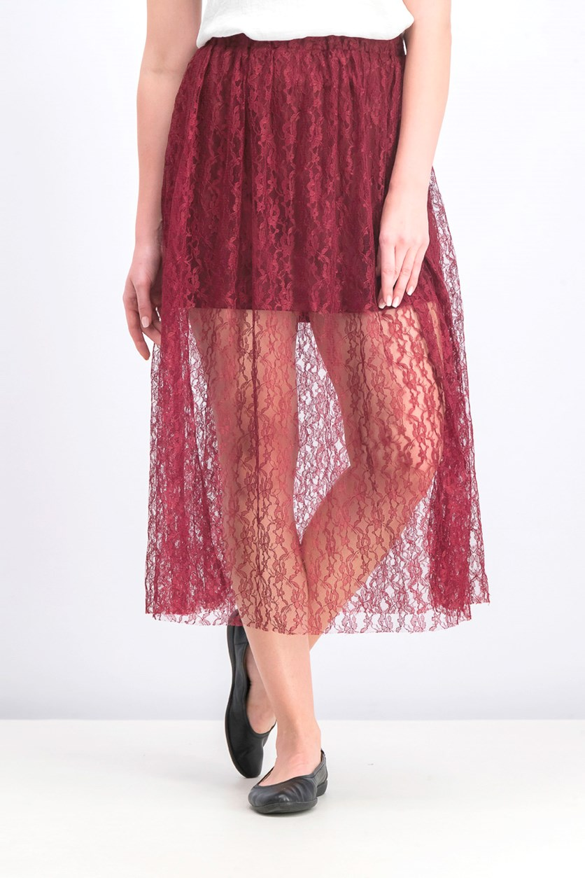 Women's Overlay Lace Skirt, Maroon