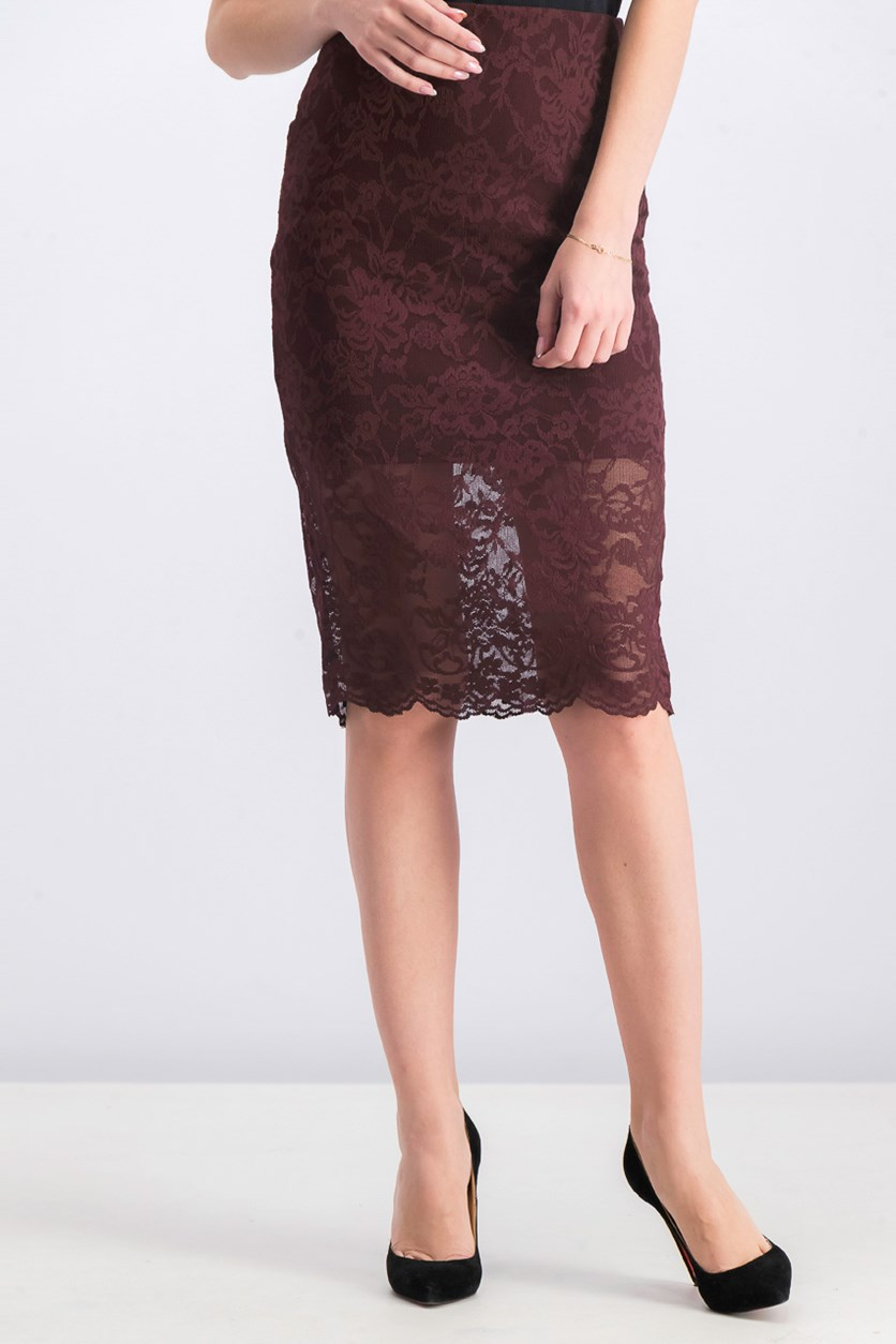 Women's Lace Skirt, Maroon