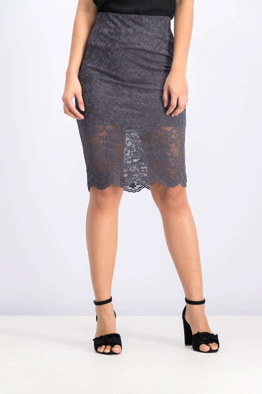 Women's Slim Crochet Lace Skirt, Gray