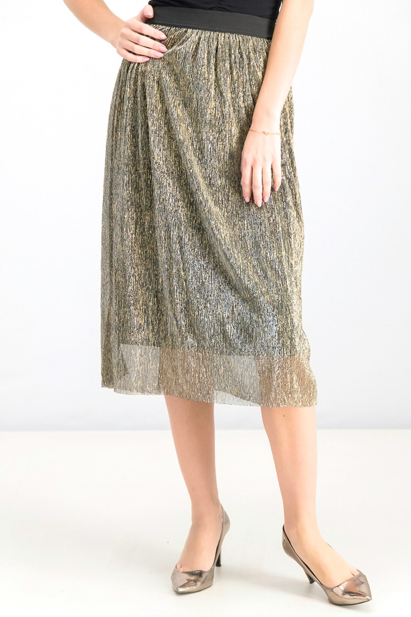 Women's Pull On Skirt, Metallic Gold