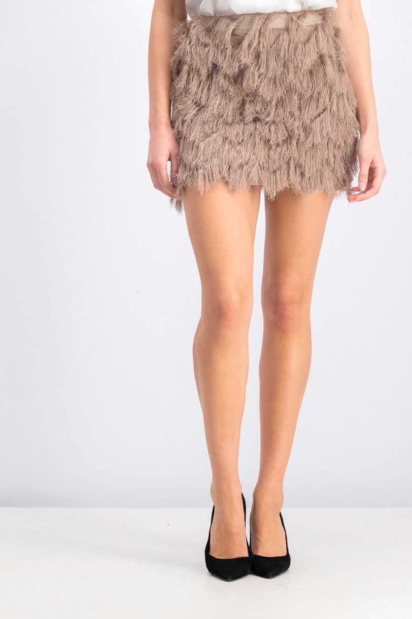 Women's Fringe Skirt, Brown