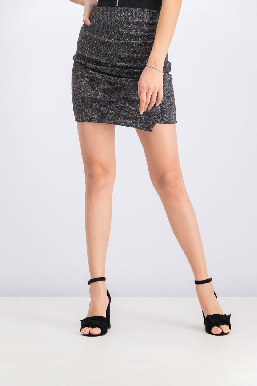 Women's Glitters Mini Skirt, Black