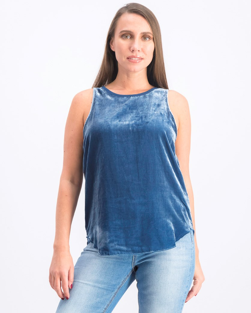 Women's Velvet Top, Navy
