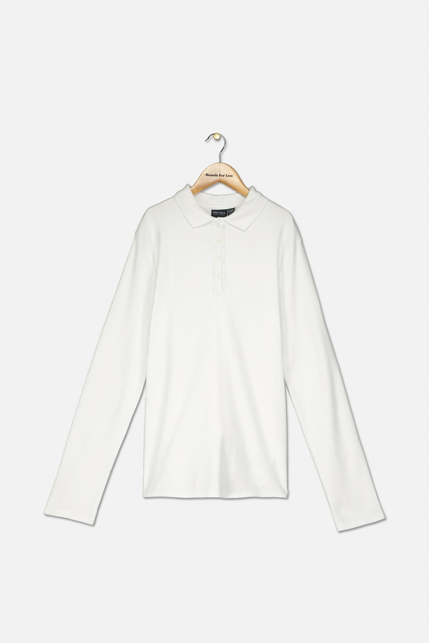 Uniform Long-Sleeve Polo Shirt, White