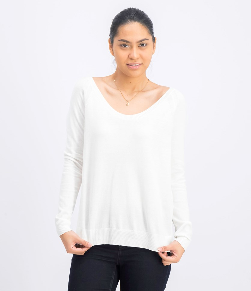 Women's Plain Long Sleeve Sweater, White