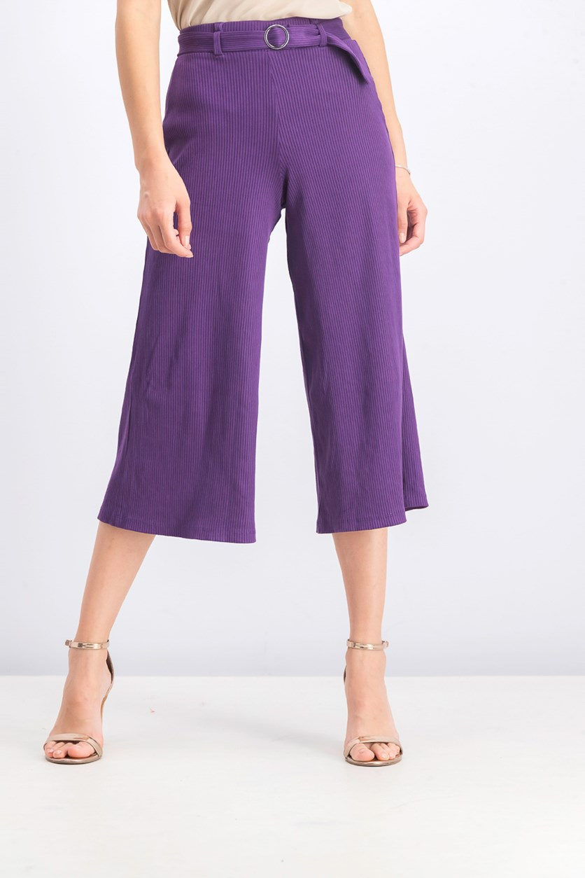 Women's Ribbed Culotte Trousers, Purple