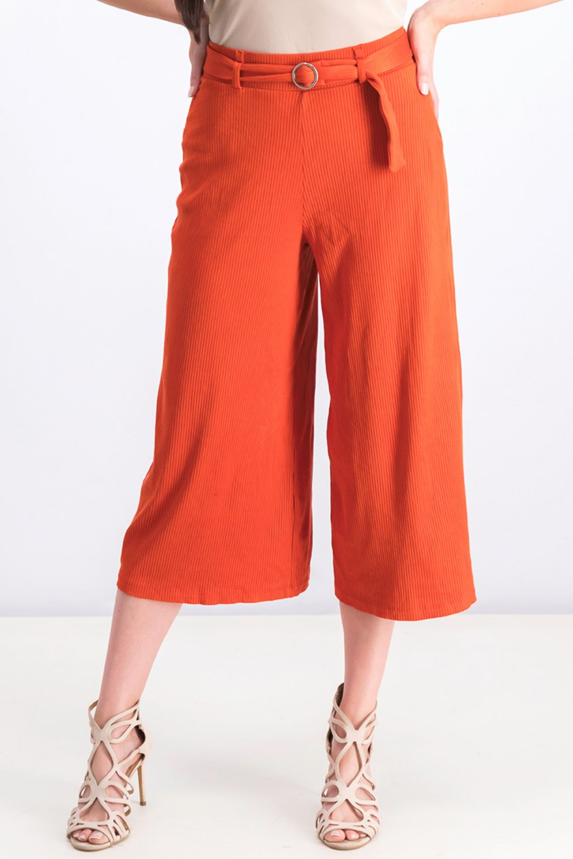 Women's Ribbed Culotte Trousers, Rust