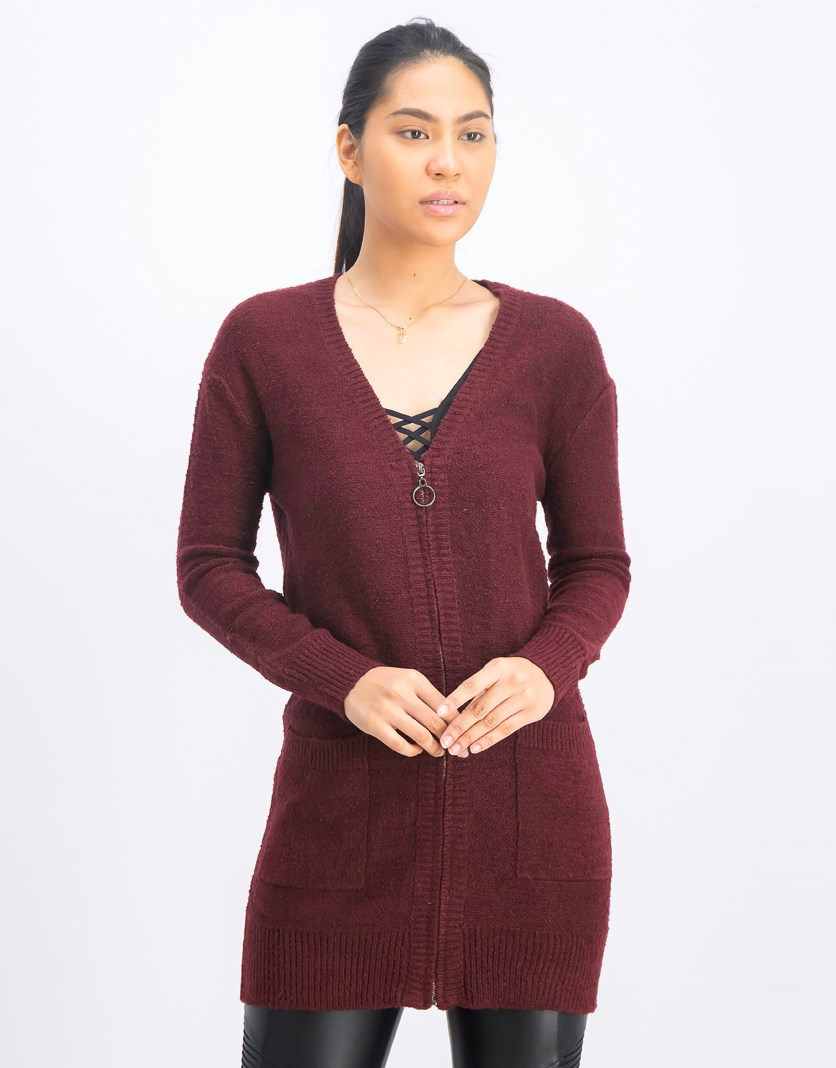 Women's Long Sleeve Full Zip Cardigan, Burgundy