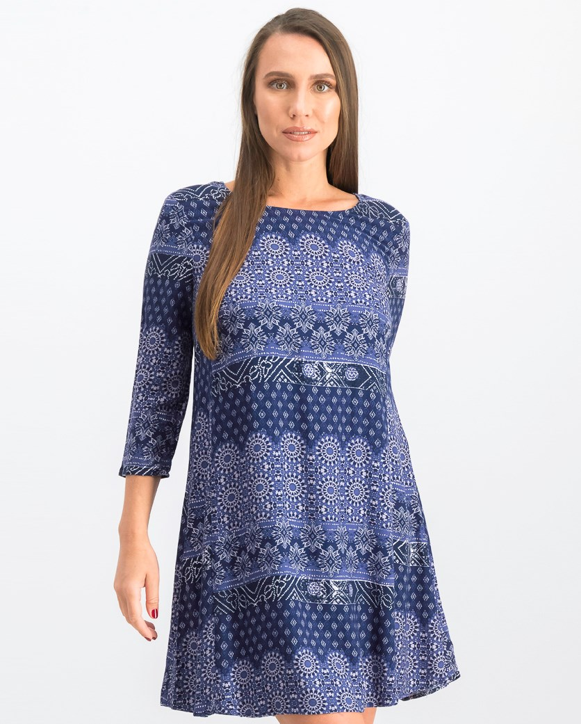 Women's Printed Shift Dress, Navy Combo