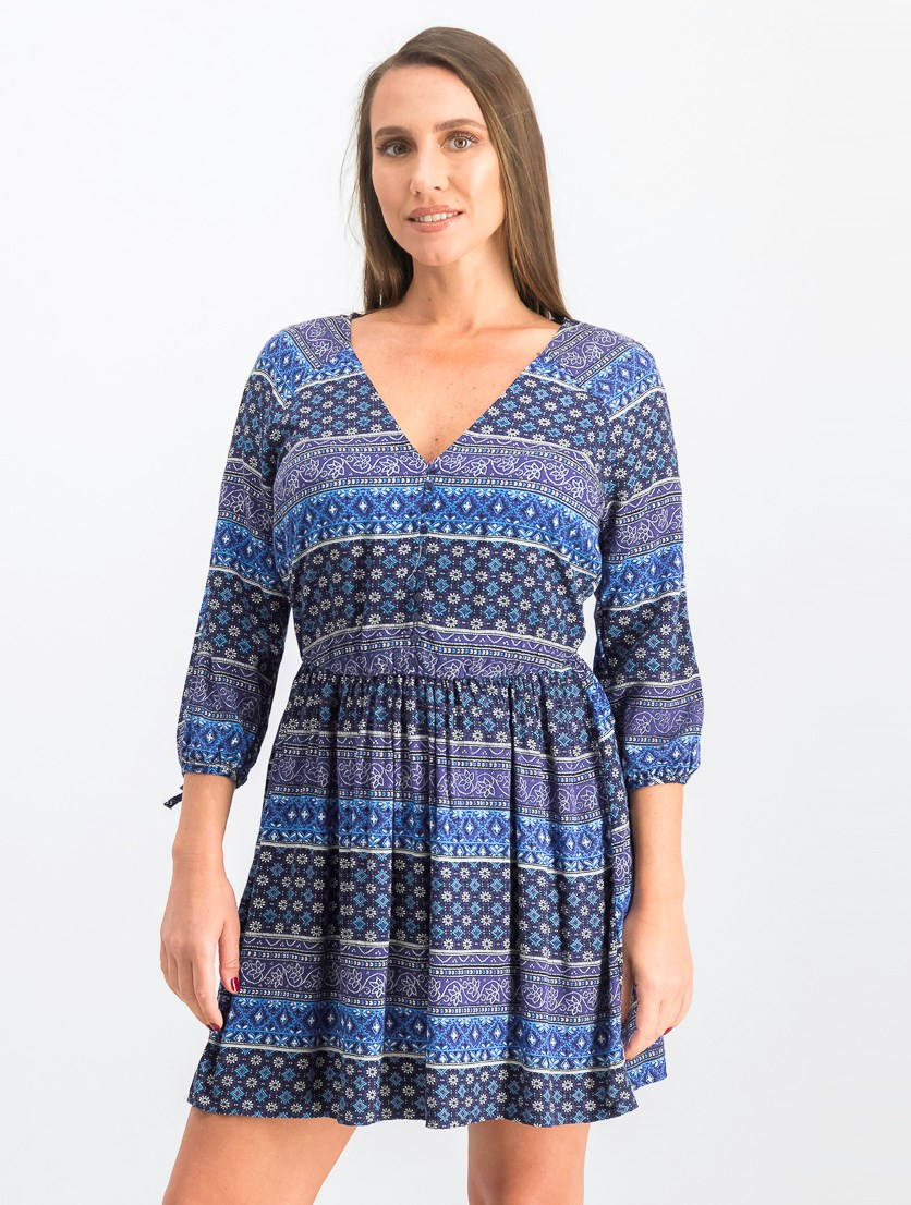 Women's V Neck Printed Shift Dress, Navy Combo
