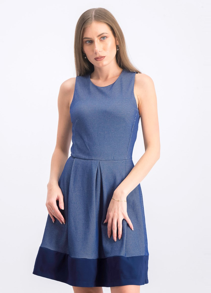 Women's A Line Dress, Navy/White