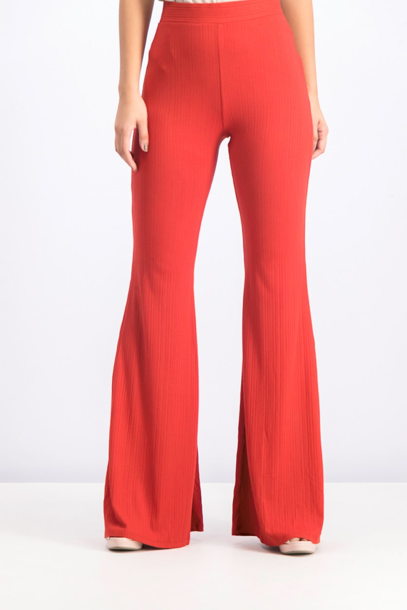 Ribbed Flared Pull On Trousers, Burnt Orange