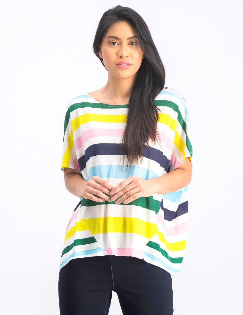 Women's Striped Tops, Ivory/Green/Pink/Yeloow