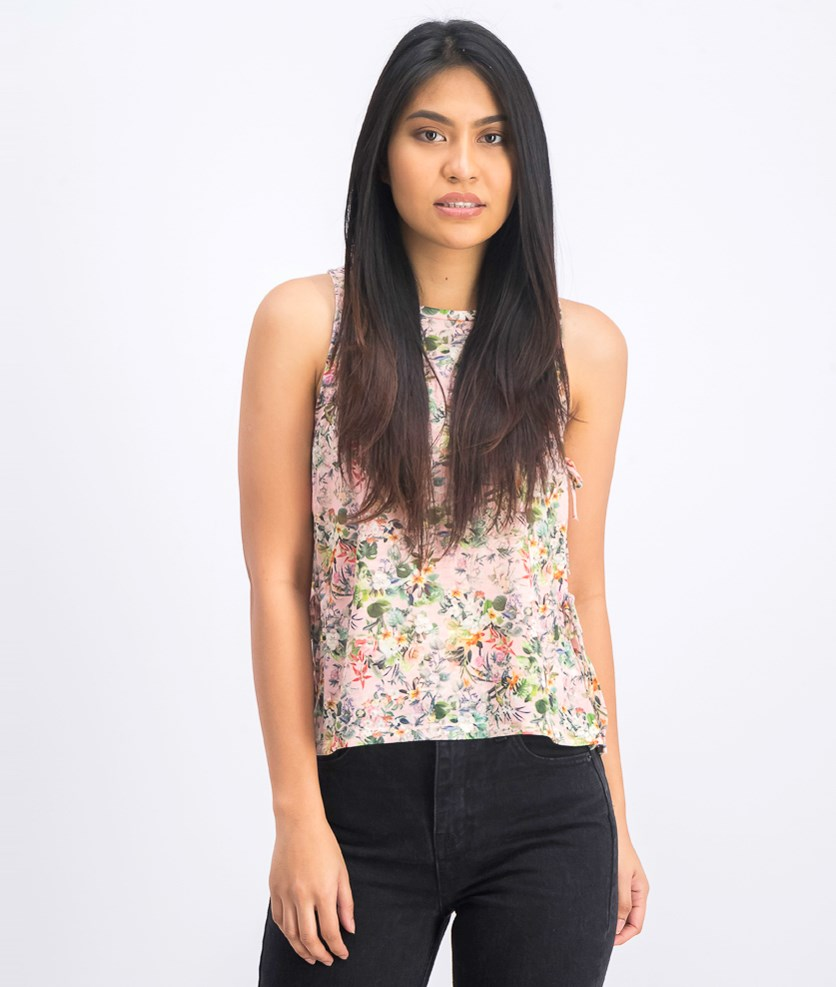 Women's Floral Open Side Slit with Tie Tank Top, Pink