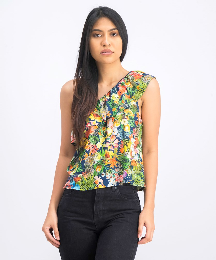 Women's Floral and Fruits Print Assymetrical Top, Lime Green