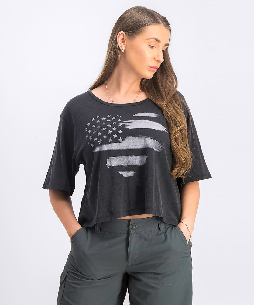 Women's Graphic Cropped Tops, Charcoal
