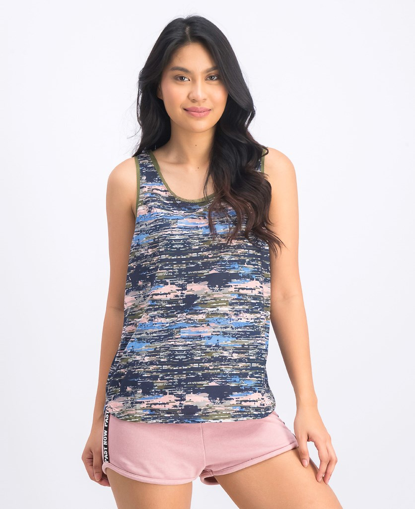 Women's Printed Tank Top, Olive Combo