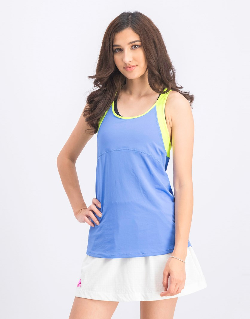 Women's Active Tank Top, Blue/Lime Green