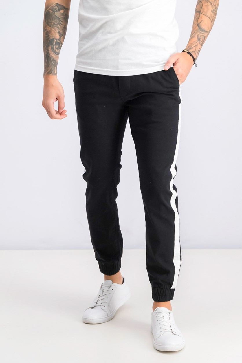 Men's Slim Fit Jogger Pants, Black/White