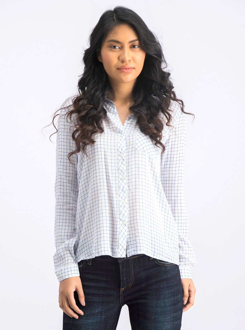 Women's Long Sleeve Casual Tops, White/Blue