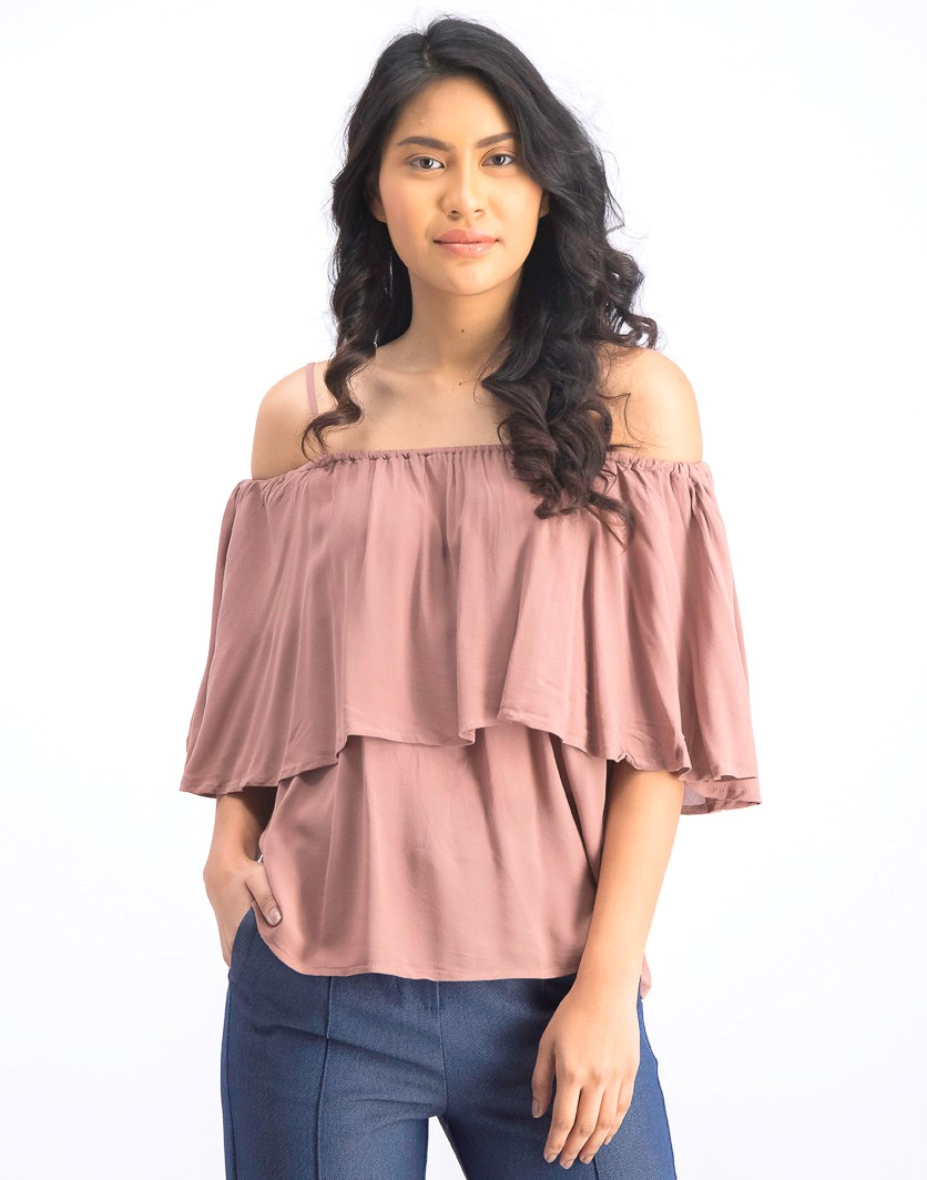 Women's Cold Shoulder Tops, Hazel Nuts