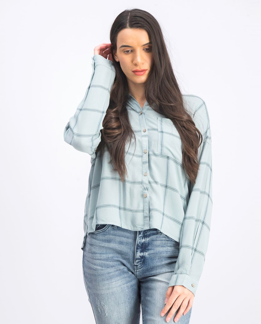 Women's Plaid Casual Shirt, Grey/Green