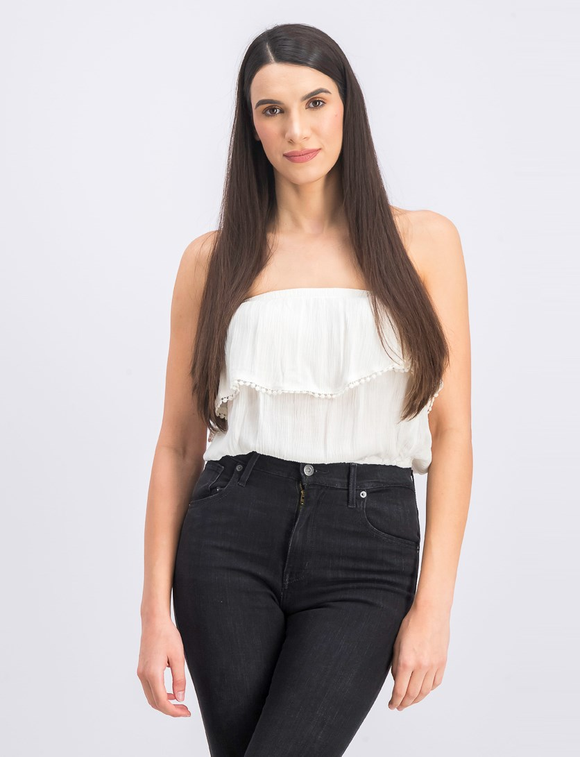 Women's Tube Cropped Tops, Ivory