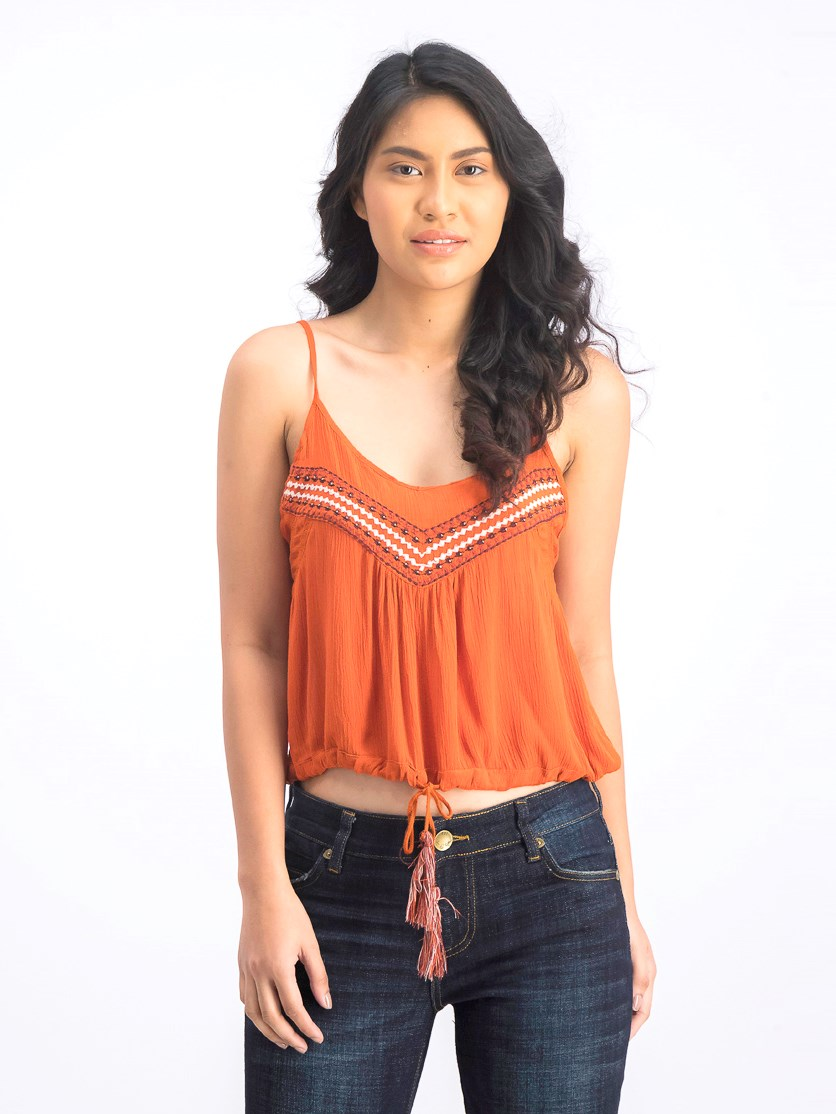 Women's Embroidered Beads Cropped Top, Rust