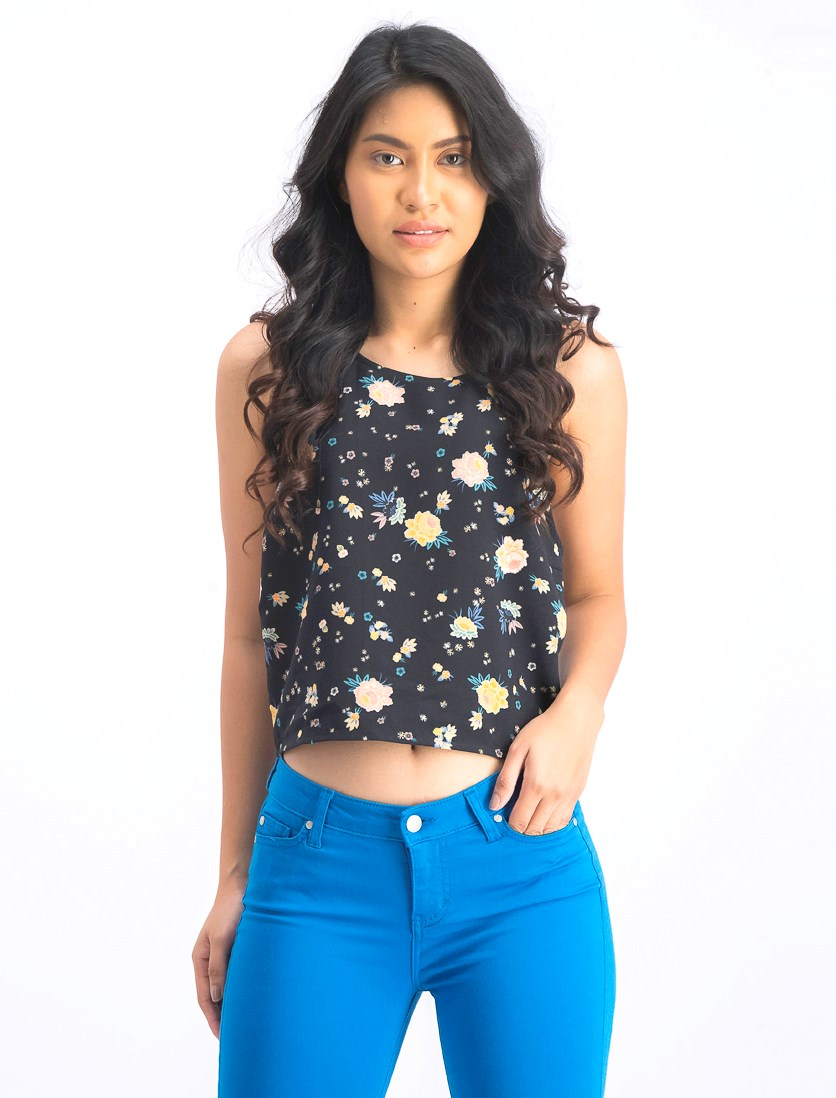 Women's Floral Top, Black Combo