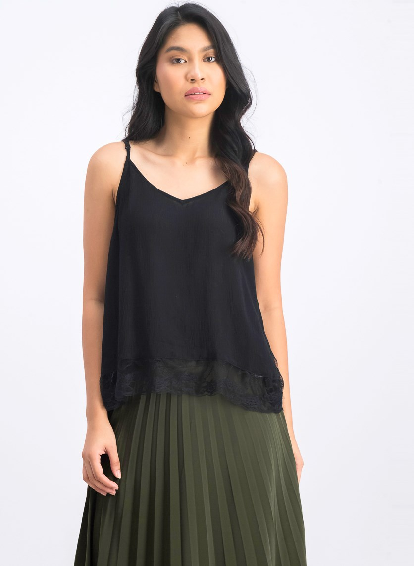 Women's Lace Hem Sleeveless Top, Black