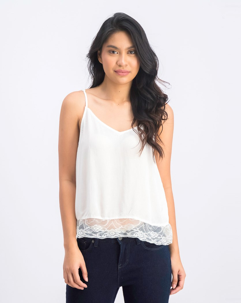 Women's Lace Hem Sleeveless Top, White
