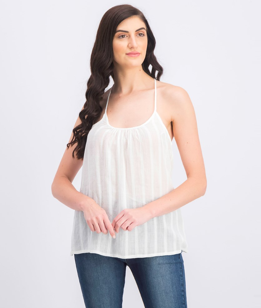 Women's Textured Sleeveless Top, White