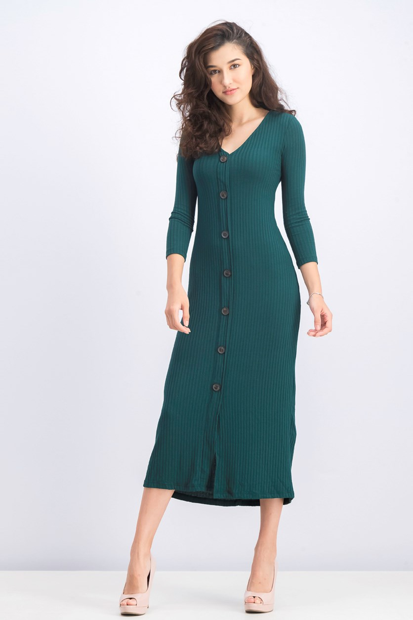 Women's Button-Up Midi Dress, Dark Green