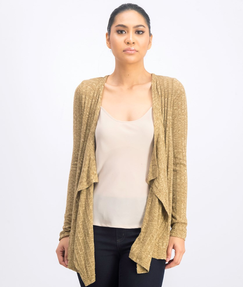Women's Knitted Cardigan, Dark Tan