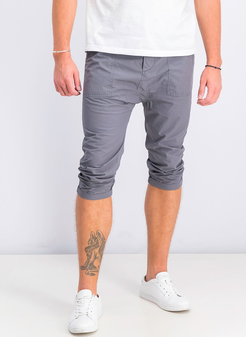 Men's Drop Crotch-Cropped Fit Pants, Grey