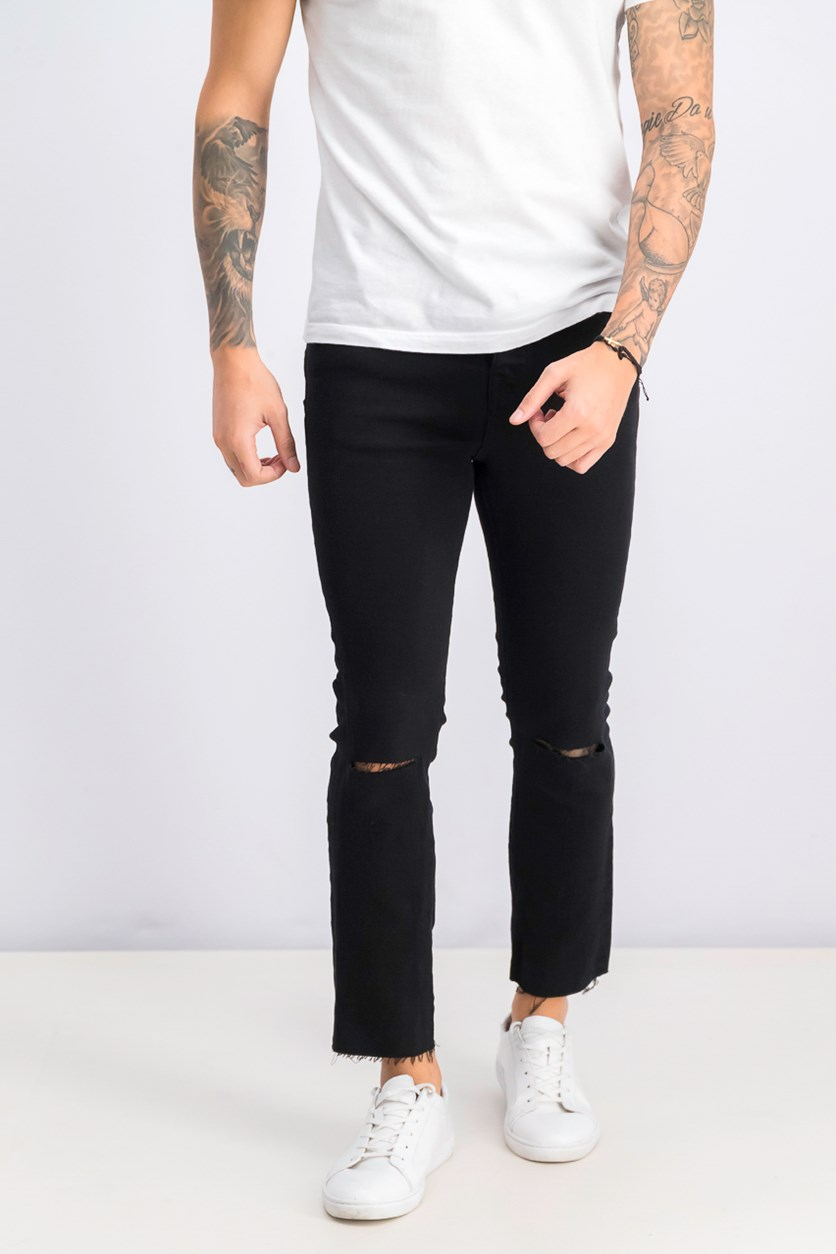 Men's Distressed Hem Jeans, Black