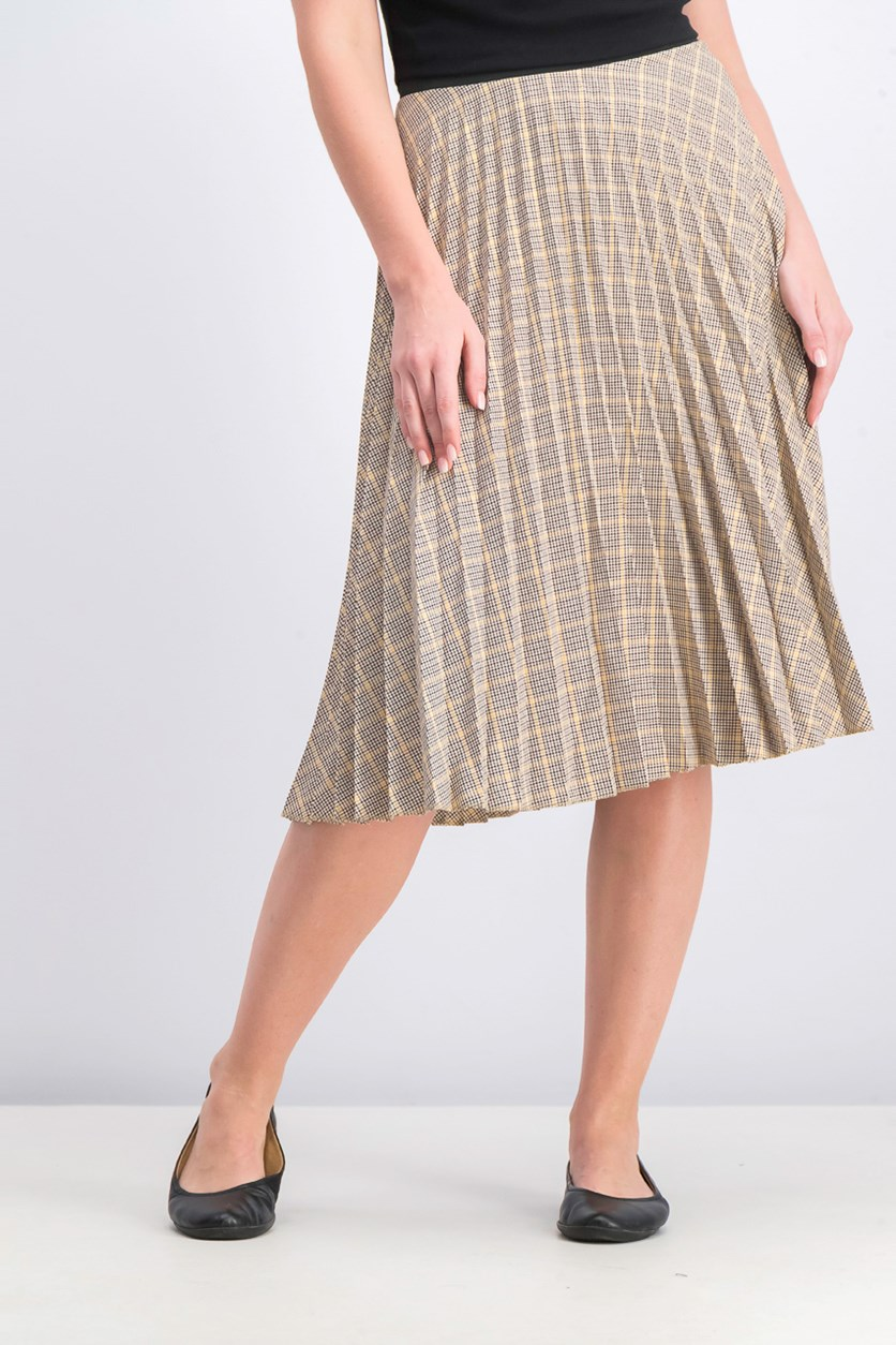 Women's Checked Pleated Skirt, Yellow/Beige/Black Combo